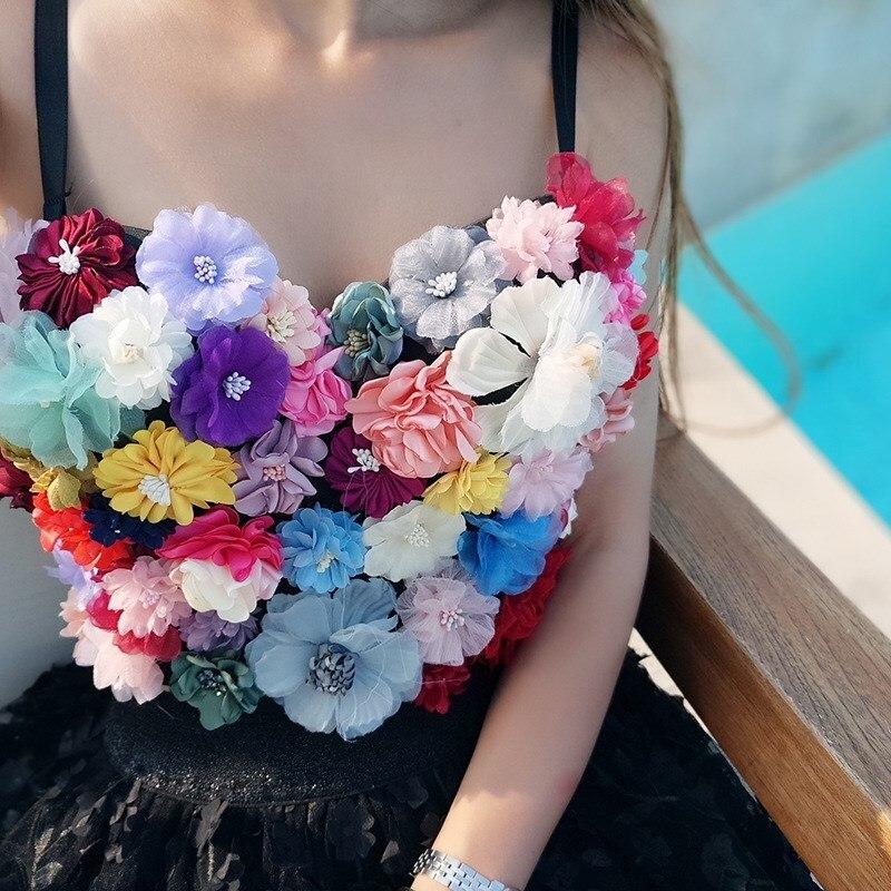 2019 nouvelles femmes Hit couleurs Sexy 3D fleurs haut court été femme boîte de nuit fête Camisole haut