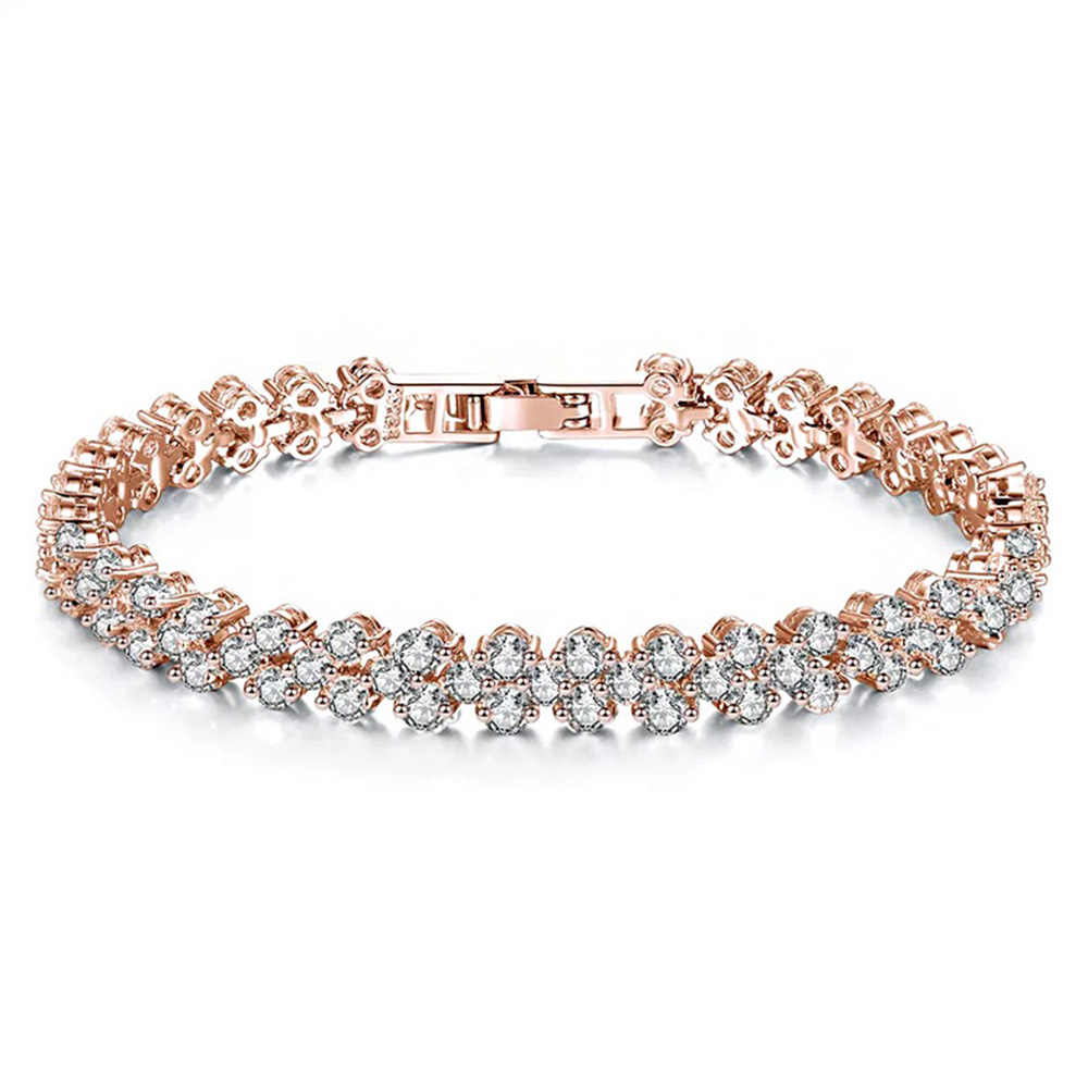 11.11 nowy rzymski rhinestone naturalny cyrkon metalowy łańcuch miłość bransoletka biżuteria z wiszącą ozdobą róża w kolorze różowego złota złote bransoletki damskie DIY prezent