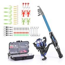 цена на Full Fishing Kits Fishing Rod And Reel Combo Telescopic Fishing Rod Spinning Reel Set with Hooks Soft Lures Barrel Swivels Bag