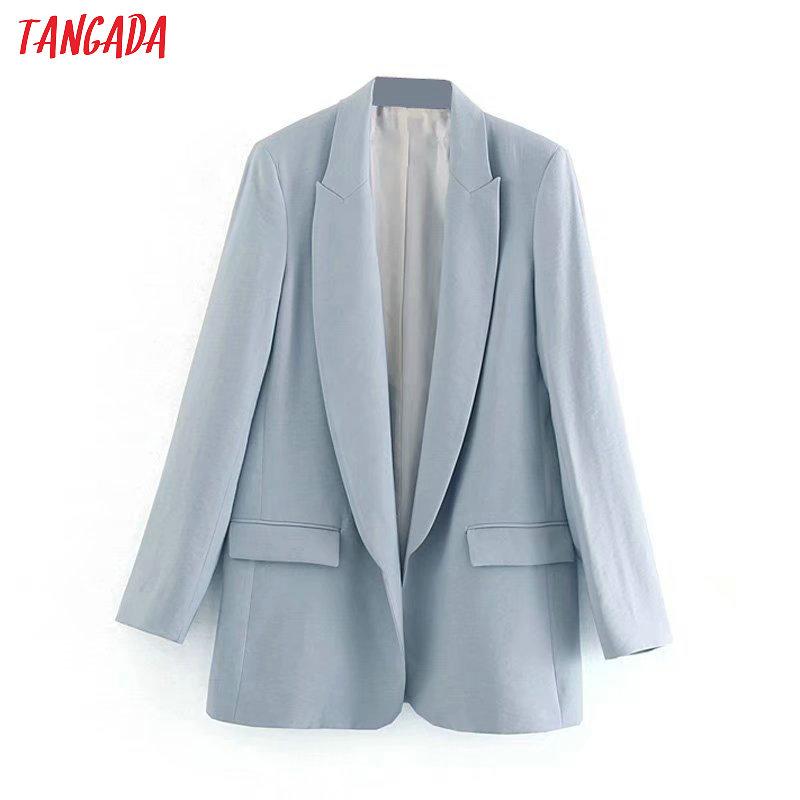 Tangada Fashion Solid Business Blazer For Female Full Sleeve Pockets Notched Collar Blazer Elegant Ladies Work Top 4M37