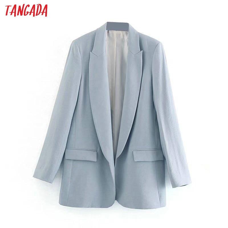 Tangada Fashion Solid Business Blazer For Female Full Sleeve Pockets Notched Collar Blazer Elegant Ladies Work Top 4M37