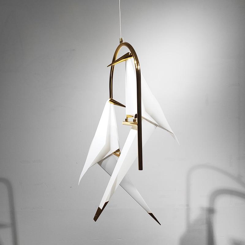 Nordique oiseau pendentif LED lumières Origami grue oiseau pendentif lampe chambre salon salle à manger intérieur décor à la maison luminaires de cuisine - 4