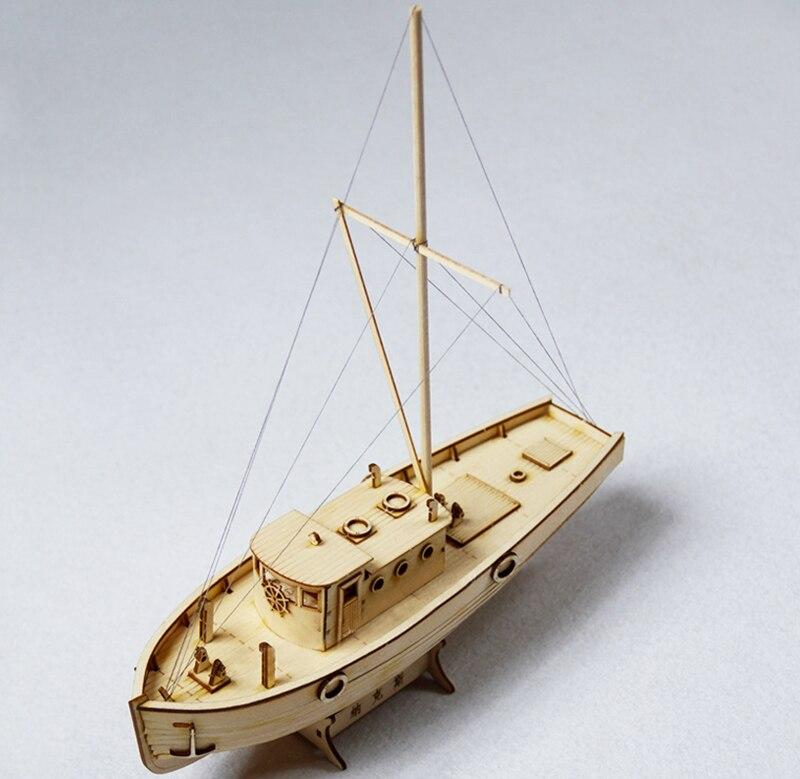 Modelo de barco ensamblado juguetes de velero de madera para pesca, modelo de barco para niños y adultos