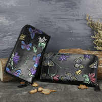 Original retro new hand-painted women's purse leather ladies leather long wallet
