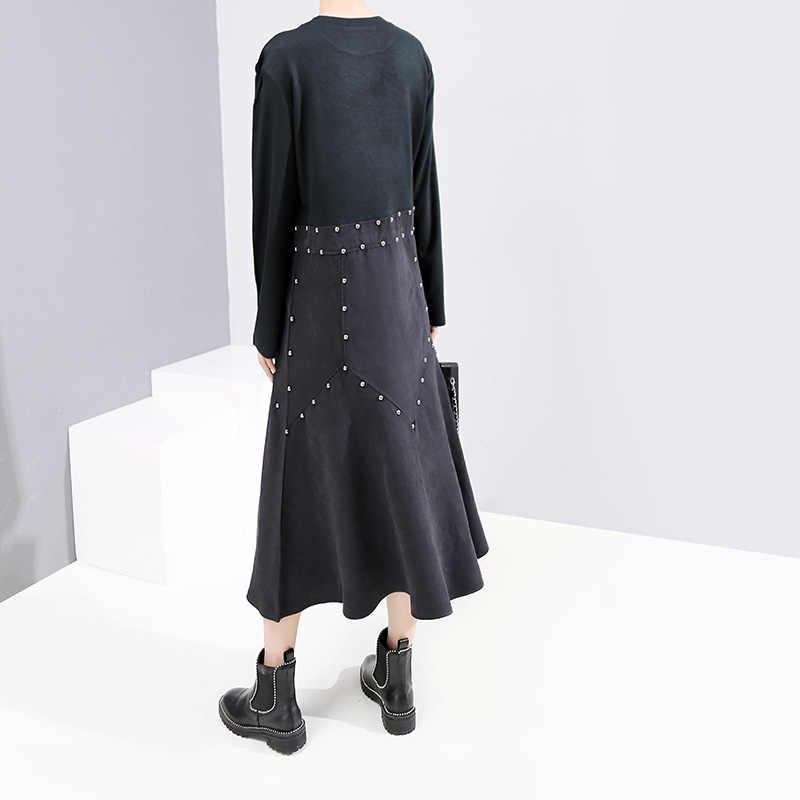 2019 Женское зимнее стильное длинное черное платье с вставками из искусственной кожи с заклепками и круглым вырезом, уникальное женское платье длиной до голени, женское платье 5691