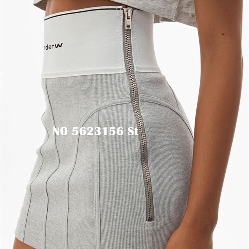 2020 Spring Summer Cotton Skirts Women's Letter Jacquard Elastic Ribbon Tight High Waist Zipper Knitted Mini Skirt
