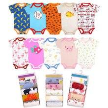 5 pçs 3m-24m manga curta algodão winggle-in macacão infantil bebê bodysuit