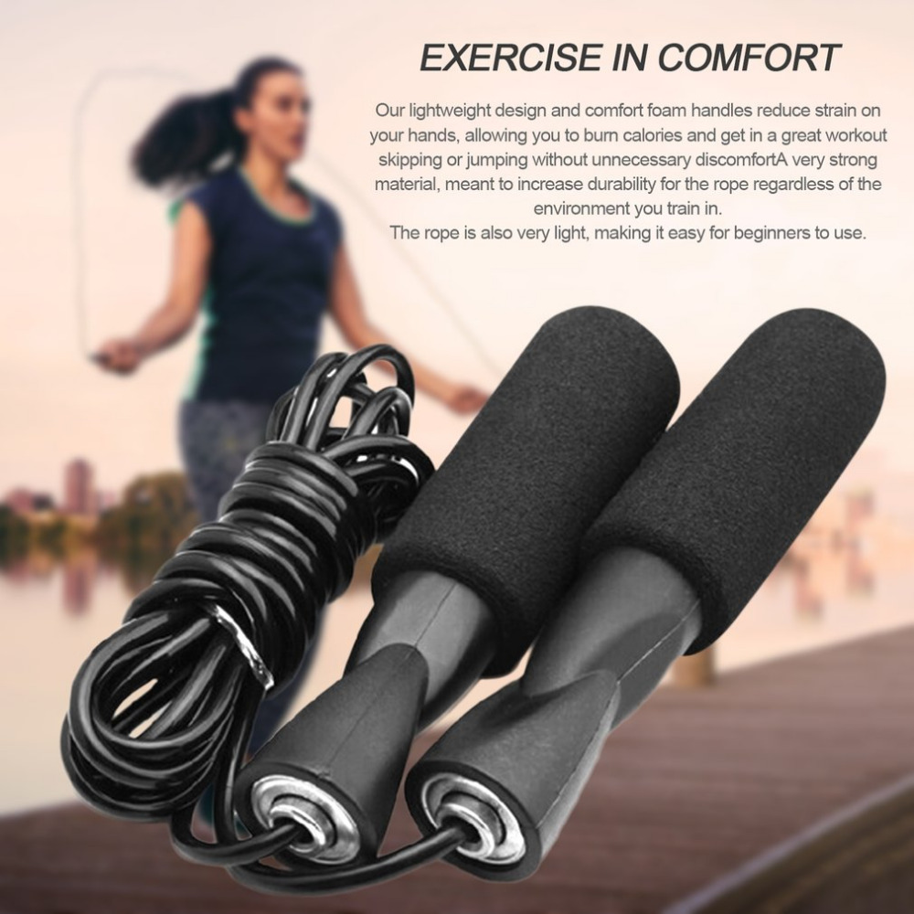 Boxing Leather Skipping Rope Fitness Jump Gym Training Workout Ball Bearing 3m