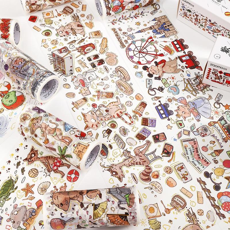 Crazy Animal City Series Bullet Journal PET Washi Tape Adhesive Planet Tape DIY Scrapbooking Sticker Label Masking Tape