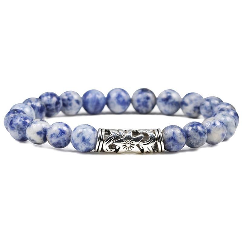 Natural 8mm Beaded Bracelet Fashion Couple Tiger Eye Weathered Lava Stone Classic Black White Charm Bracelets Women Men Jewelry