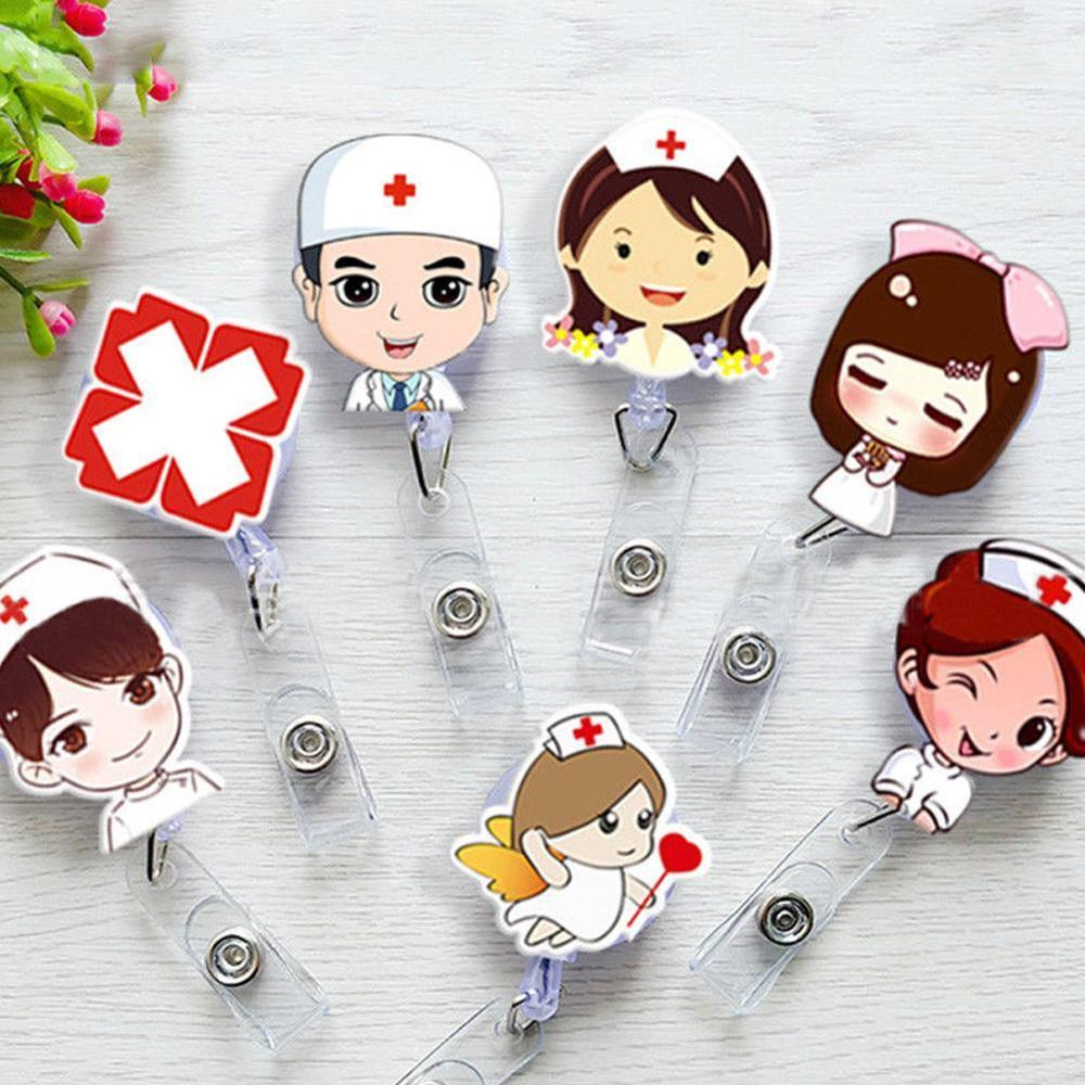 1 Pcs Cartoon Mini Retractable Badge Reel Doctor Nurse Lanyards ID Name Card Clip Student Nurse Badge Holders Stationery