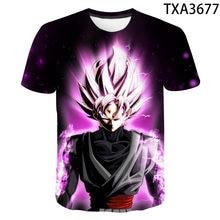 Camiseta de manga corta de Anime Goku para hombre y mujer, ropa de calle para niño y niña, ropa de calle 3D con estampado, camisetas de verano