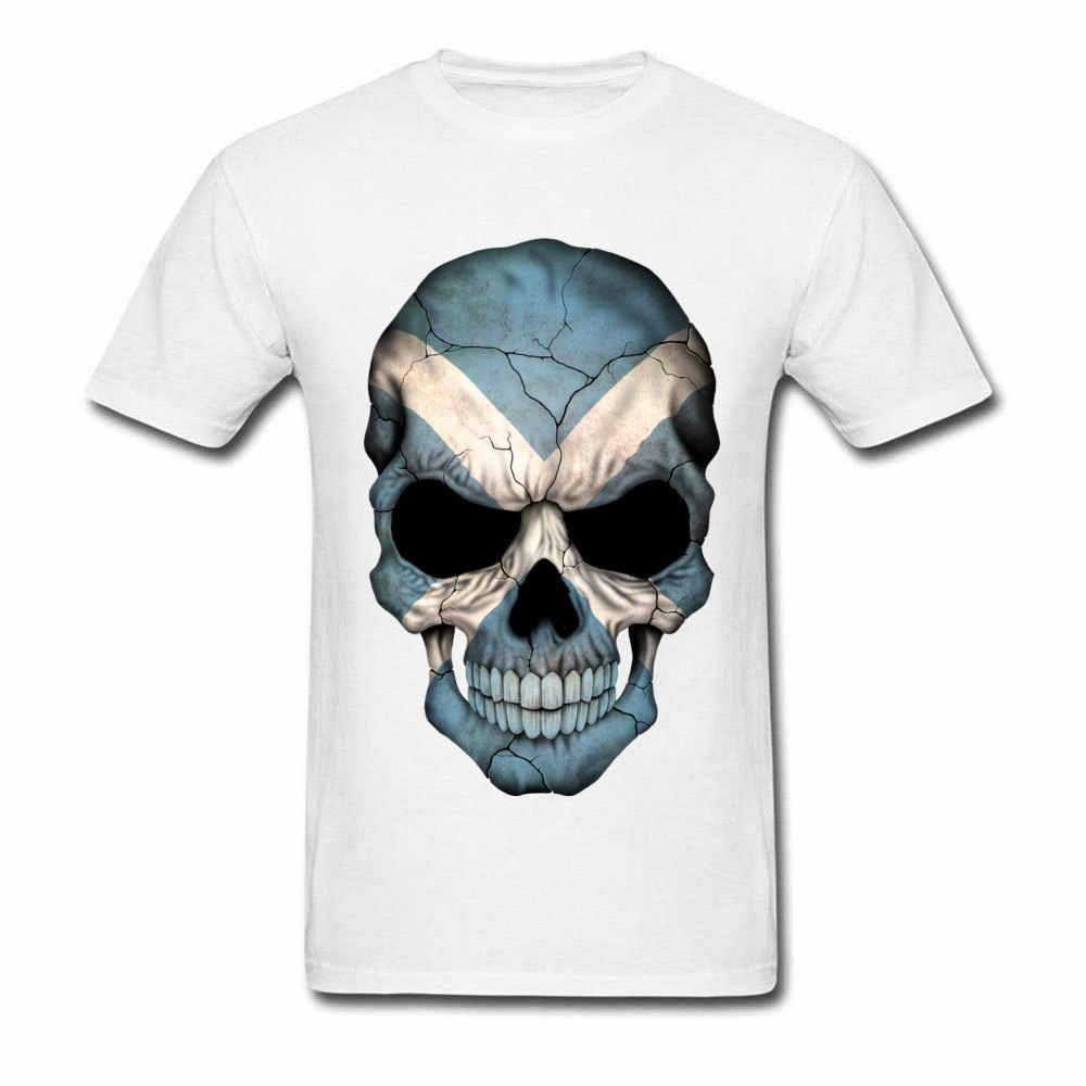 Geek iskoç bayrağı kafatası tişört Normal Tops & Tees 2020 popüler doğum günü T-Shirt kulübü tişörtleri moda kollu bisikletçinin T Shirt erkek
