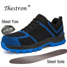 Thestron 2019 New Trend Steel Toe Boots Big Size 48 Work  Blue Black Rubber Bottom Safety Shoes Anti-Slip Men