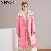 YNZZU European Style Hit Color 2019 Winter White Duck Down Coat Women Long Pink Yellow Warm Loose Female Jacket Outwear A1295