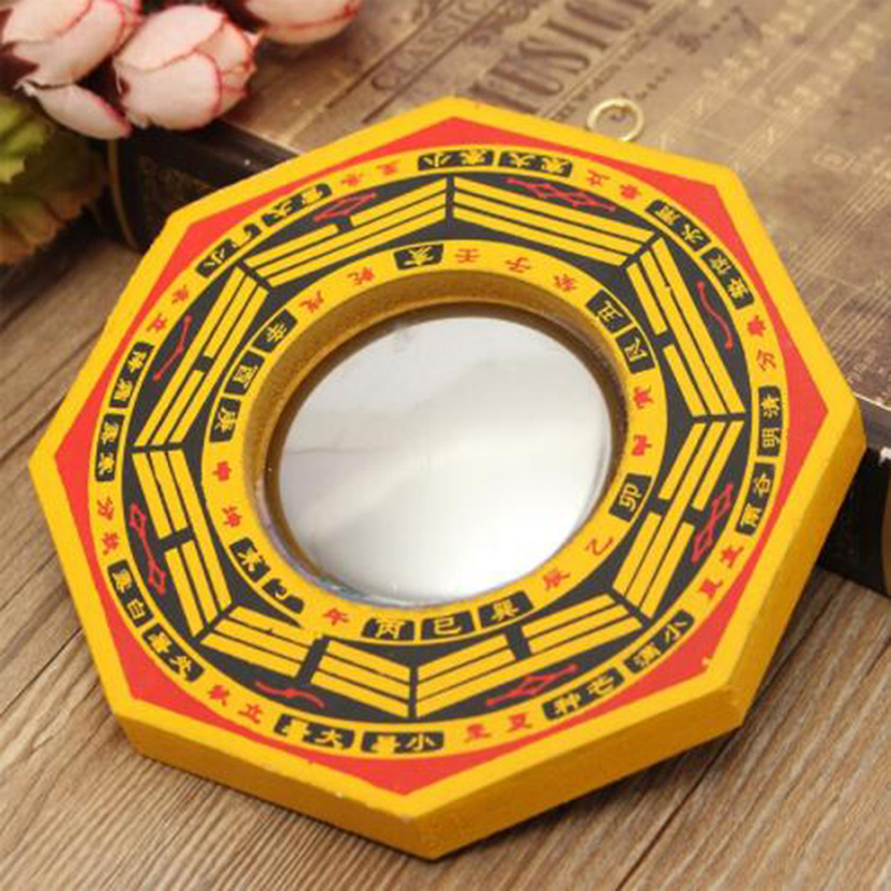 Retro Feng Shui Dent Convex Bagua Pakua Chinese Wooden Mirror For Good Luck And Blessing Home Wall Decorative