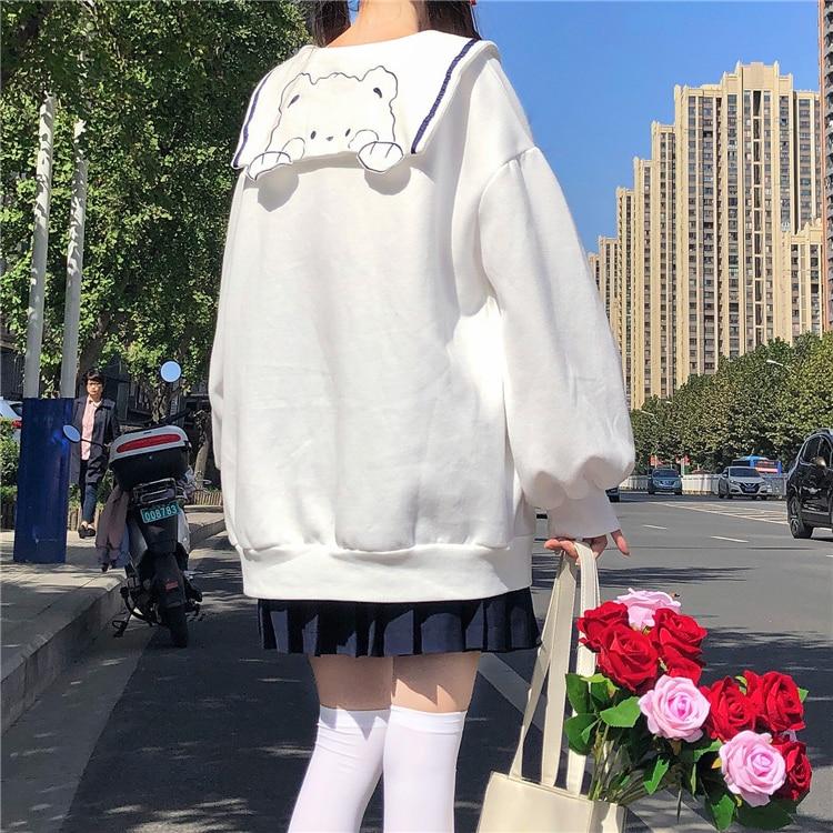 Kawaii Bear Sailor Collar Loose Sweater
