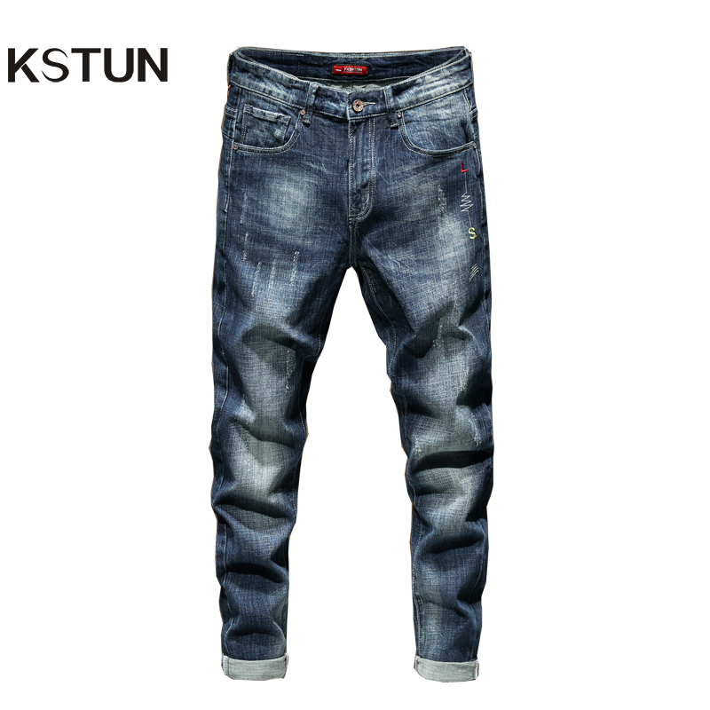 KSTUN Jeans Pants Men Denim Jeans Slim Fit Blue Elasticity 2019 Autumn Tapered Jeans For Man Long Trousers Large Size Jean Homme