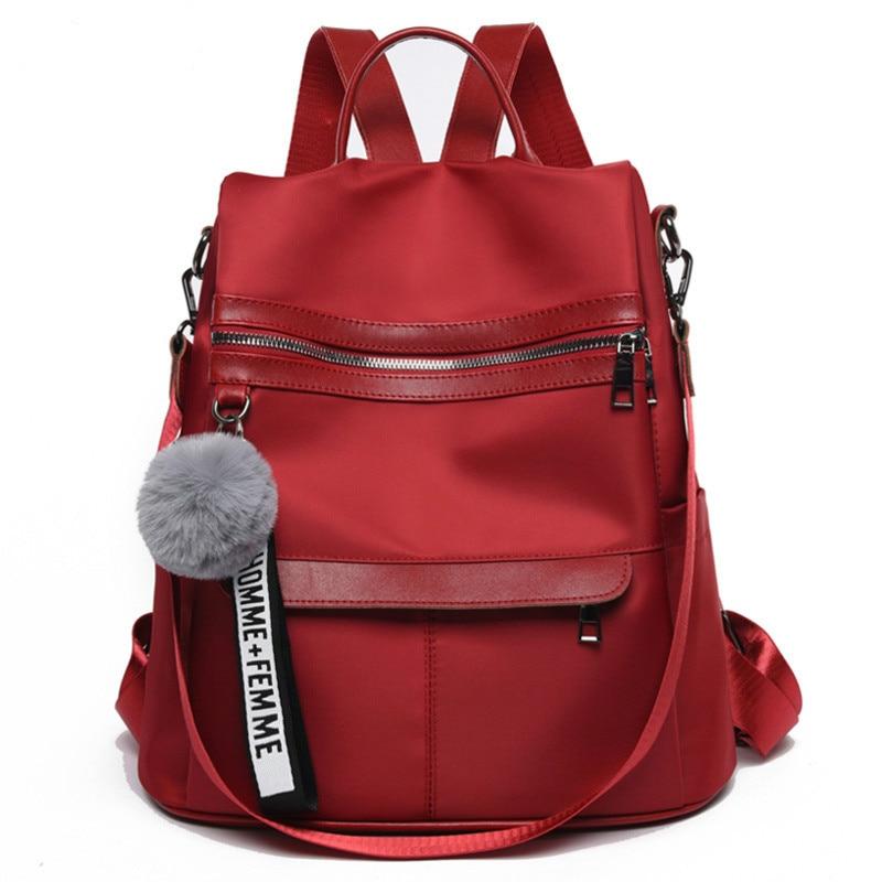 Водонепроницаемый рюкзак из ткани Оксфорд с защитой от кражи, простая ветрозащитная сумка для колледжа, молодежный рюкзак для девушек, подарок с подвеской в виде шарика для волос, 2020-0