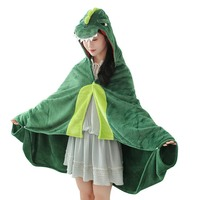 Dinosaur Hooded Blanket Soft Fleece Animal Wrap Blanket Cloak for Kids Air Conditioning Blanket Home Shawl