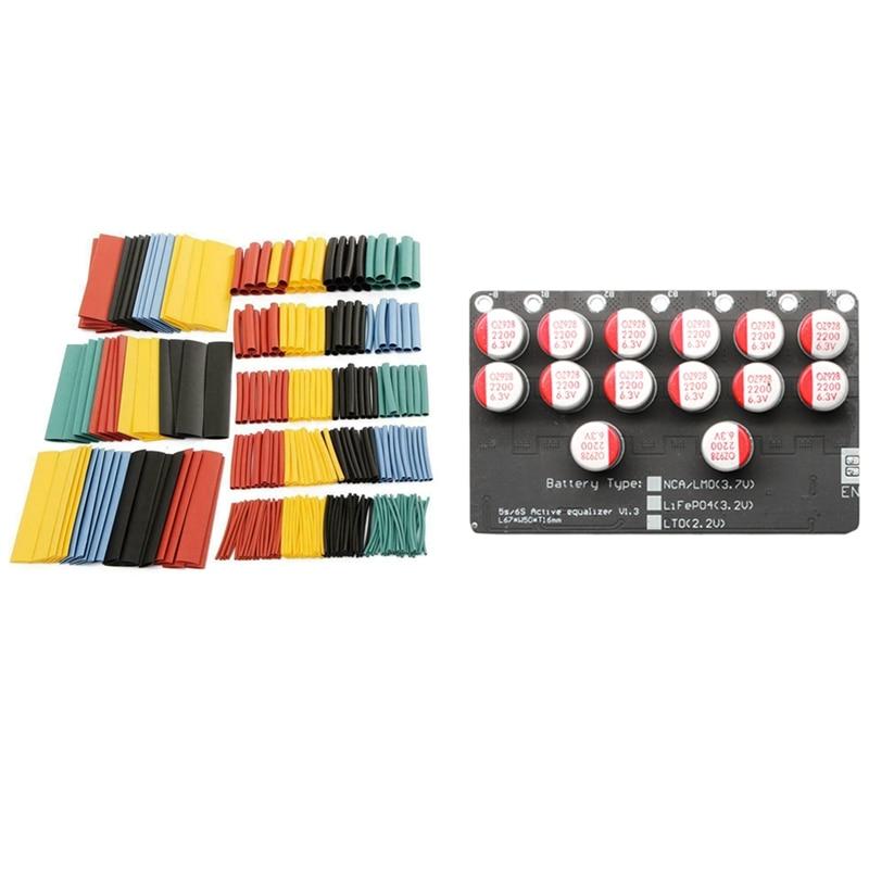 328Pcs Cable Heat Shrink Tubing 2:1 Assortment Kit & 1 Pcs 5A Balancer 6S LiFePo4 Li-Ion Ver Battery Active Equalizer