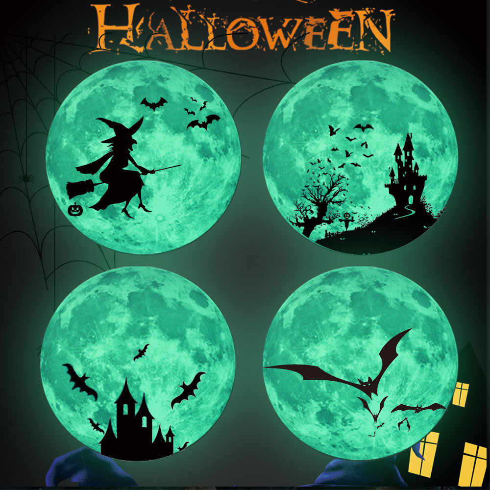 Halloween PVC Wall Sticker Home Room Background Wall Window Glass Luminous Moon Removable Decoration Decal Party DIY Handicrafts