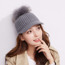 Rex Rabbit Fur Ball Korean-style Knitted Brim Hat Children Autumn And Winter Casual Versatile Solid Color Yarn Baseball Cap Stud(China)
