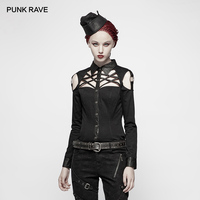 PUNK RAVE New Punk Handsome Military Women's Black Long sleeved Twill Hollow out Women Shirt Cross Design Streetwear Top