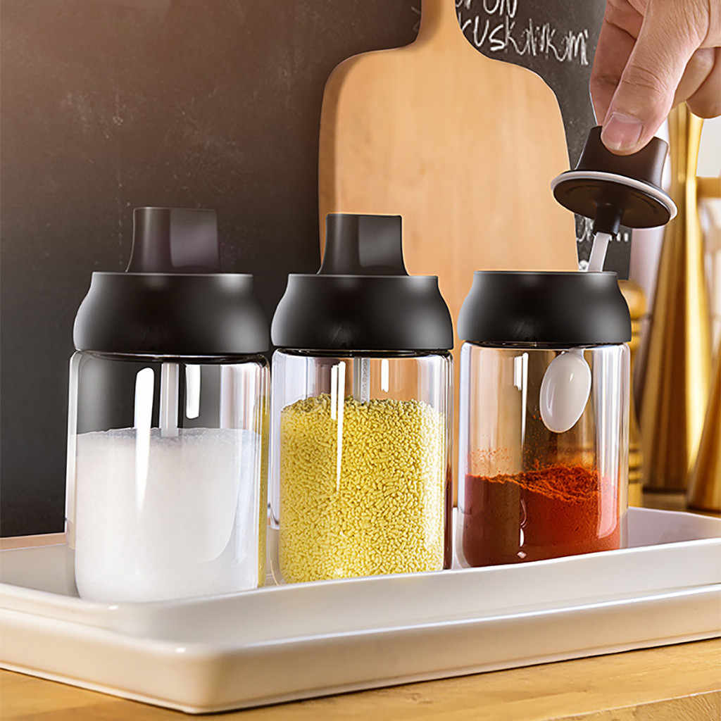 Dapur Kaca Botol Bumbu Garam Kotak Penyimpanan Toples Bumbu dengan Sendok Perlengkapan Dapur untuk Garam Gula Lada Bubuk #15