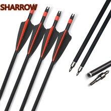 6/12/24Pcs 30 Archery Fiberglass Arrows Replaceable Broadhead SP 500 Glass Fiber Arrow For Outdoor Hunting Shooting Accessories