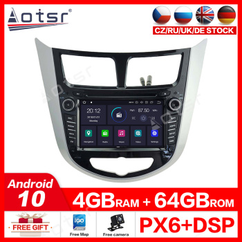 Aotsr Android 10.0 4G+64GB GPS Radio Player for Hyundai Verna Solaris I25 2010 2011 with Car Auto Stereo Radio Multimedia GPS image
