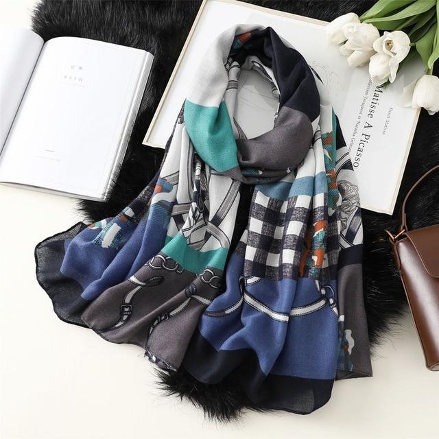 Фото шарф женский всесезонный из хлопка и льна длинный шаль в клетку цена