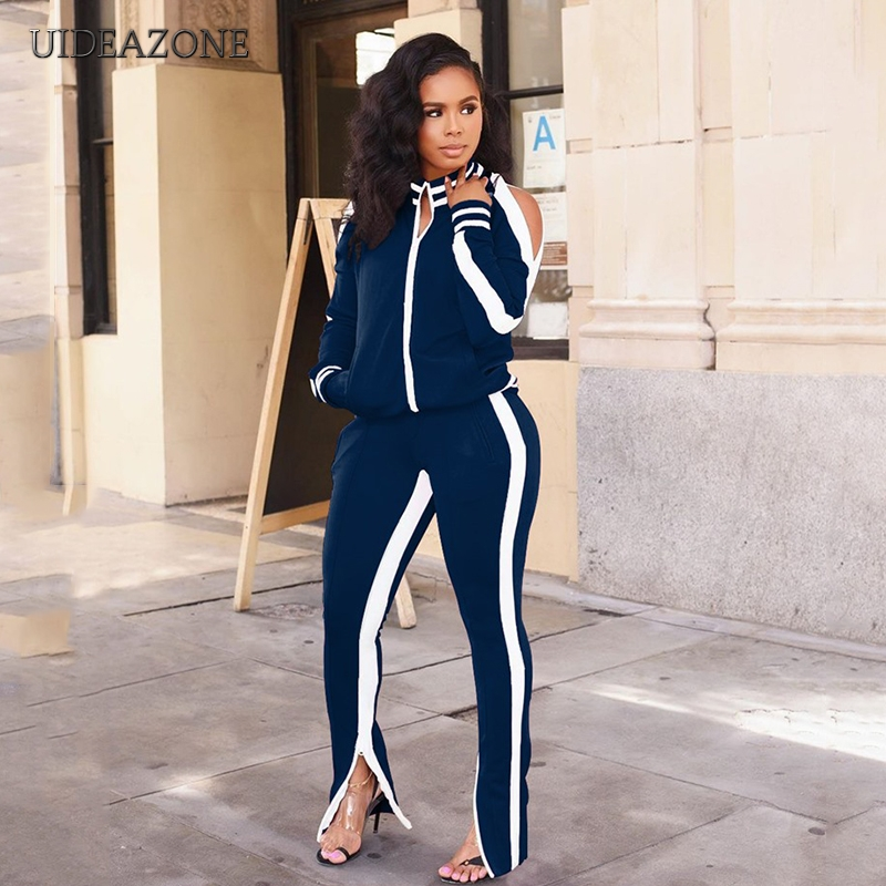 UIDEAZONE Women Sports Two Piece Set Turtleneck Zipper Jackets Elastic Waist Pants Striped Casual Ladies 2 Pieces Suits 2Pcs Set