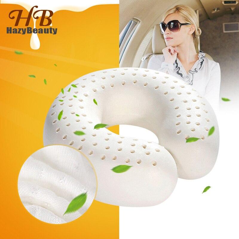 HazyBeauty Natural Latex Travel Neck Pillow U-shaped Pillow Orthopedic Pillow kussens Oreiller Almohada Cervical Poduszkap