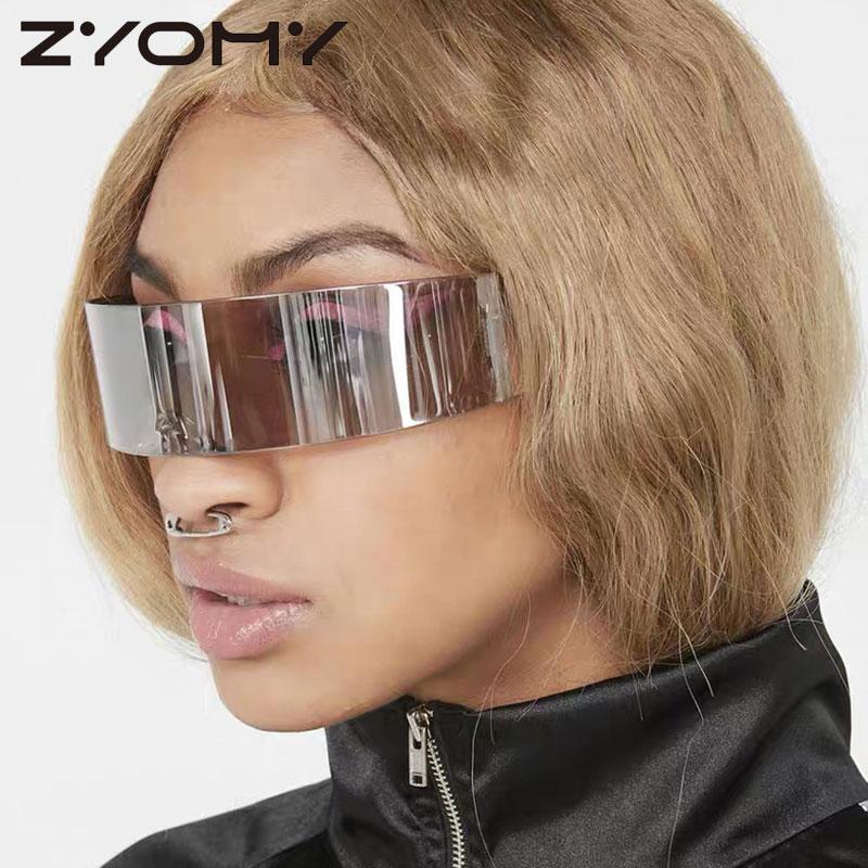 2020 Sunglasses Women Luxury Brand Oversize Sunglasses For Men One-Piece Retro Glasses UV400 Eyeglasses Men Rimless Vintage