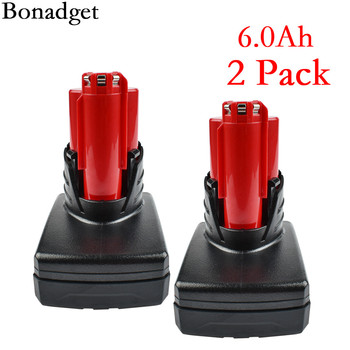Bonadget Tools Battery For Milwaukee M12 12V 6000mah Power Tool Rechargeable Li-ion Battery Replacement Battery Backup Battery цена 2017