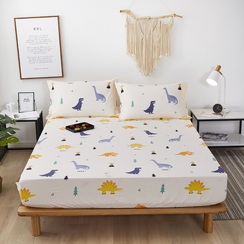 Fixed Bedspread Solid And Durable Pure Cotton Mattress Cover Dustproof Protect Fitted Bedding Sheet Singleton Antislip image