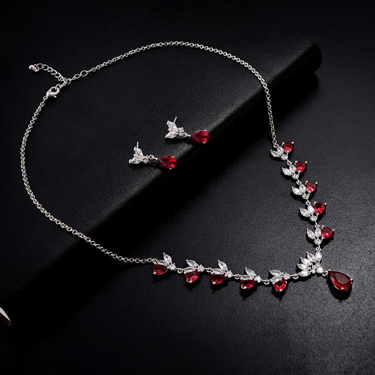 Ensembles de bijoux de dames de mariage de mode de goutte d'eau pour les femmes plein Pave cristal Zircon boucles d'oreilles colliers ensemble bijoux - 2