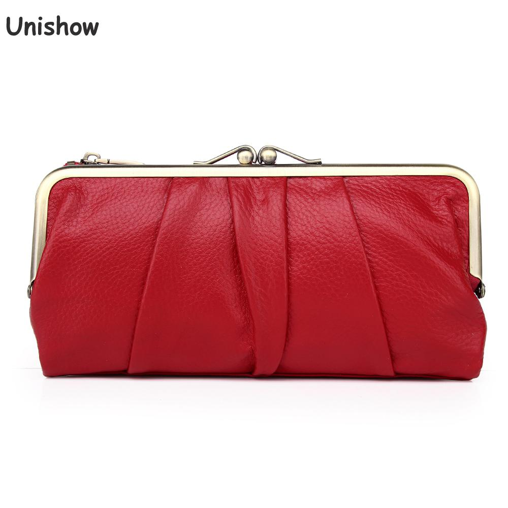 Unishow Genuine Leather Women Wallet Long Clip Women Purse Clutch Brand Designer Cow Leather Ladies Wallet Female Phone Purse