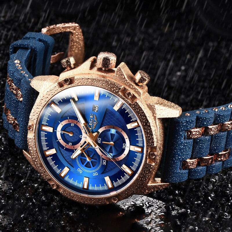 LIGE Sports Watch Men Waterproof Mens Wristwatch Quartz Watches For Men Luxury Brand Silicone Strap Man Clock Relogio Masculino