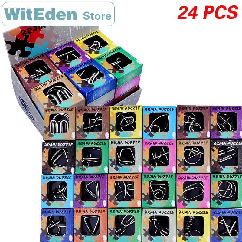 3D Metal Wire Puzzles 24PCS/Sets IQ Brain Teasers Test Casse-Tete Perplexing ZHL Classic Knot Intelligence Buckle Interlock Toys image