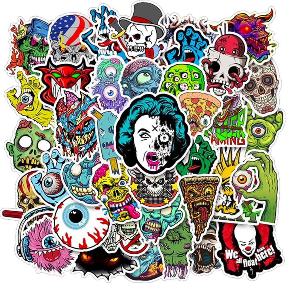 50PCS Mixed Horror Series Skull Zombie Cartoon Stickers Bike Skateboard Fridge Guitar Laptop Luggage Waterproof Joke Stickers