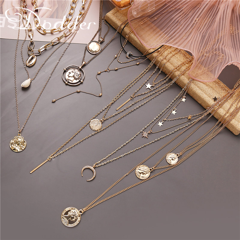 Dodder Vintage Star Moon Necklace Fashion Sun Apollo Helios Statue Choker Pendant Necklace Women Party Summer Jewelry 2020 NEW