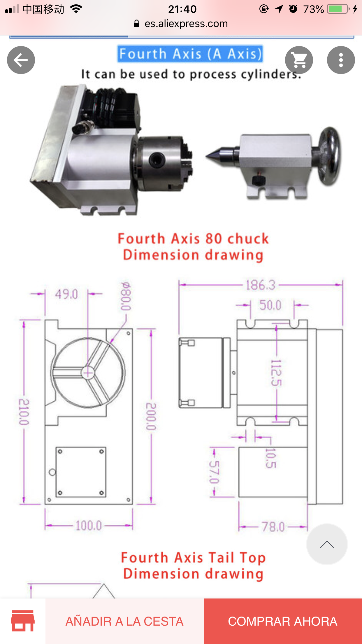 Addional 4th Axis For 5 Axis Cnc 6040 2200w