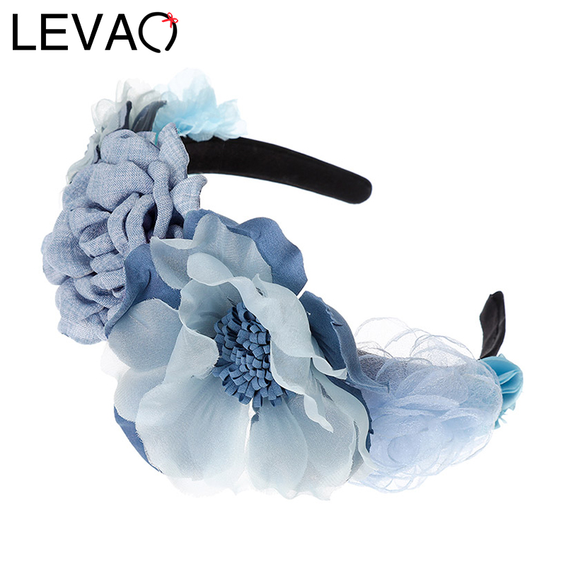 LEVAO Bridal Garland Headpiece Holiday Flower Headband Wreath Hairband Party Girls Hair Accessories Corolla Crown  Head Hoop New