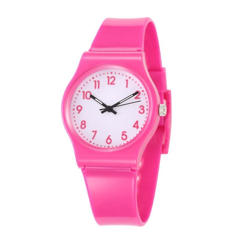 Relógio de pulso infantil quartzo rosa, relógio de pulso à prova dágua para crianças