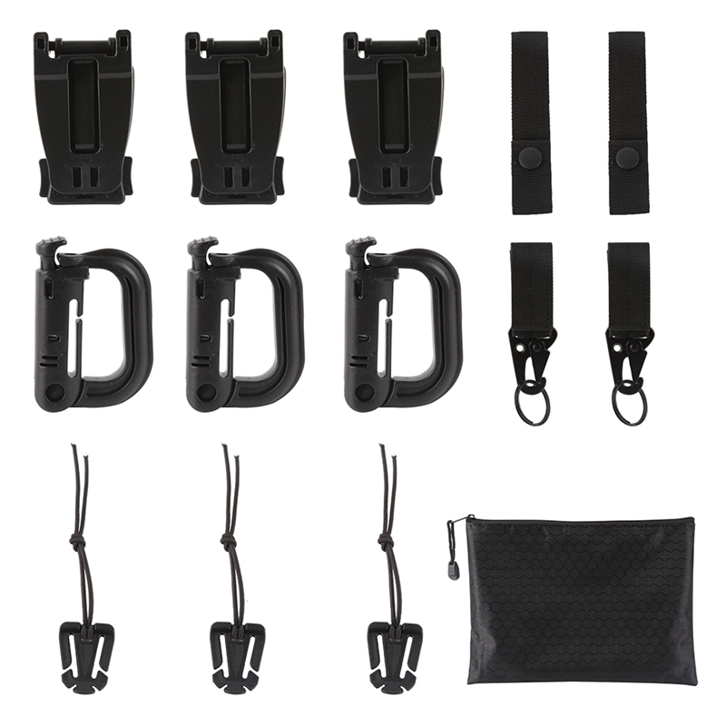 13pcs/set Molle Strap Backpack Bag Webbing Connecting Buckle Clip Military Backpack Accessory EDC Gear Outdoor Tools