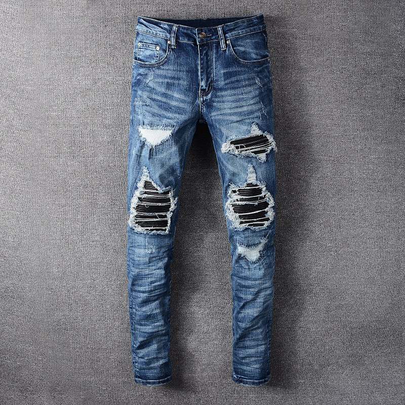 Fashion Streetwear Men Jeans High Quality Slim Destroyed Ripped Jeans Men Punk Pants Brand Designer Elastic Hip Hop Jeans Homme