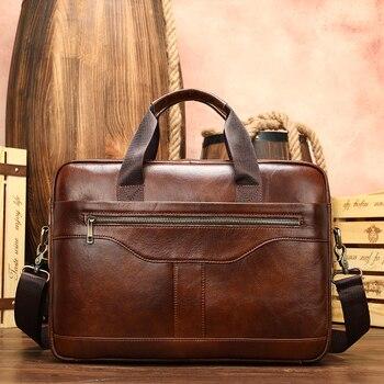 crazy cow hide men bags brief case casual men's bag designer handbags high quality travel bag