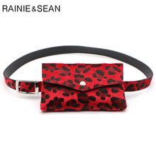 RAINIE SEAN Leopard Horsehair Belt Bag Leather Women Waist Pack Red Black White Brown Female Brand Fanny Pack Belts